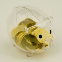 Piggy Bank filled with Belgian Chocolate Coins